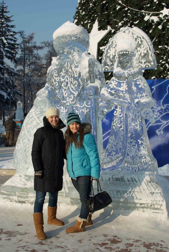 Grandfather Frost and his grandaughter Snegurochka, Irkutsk