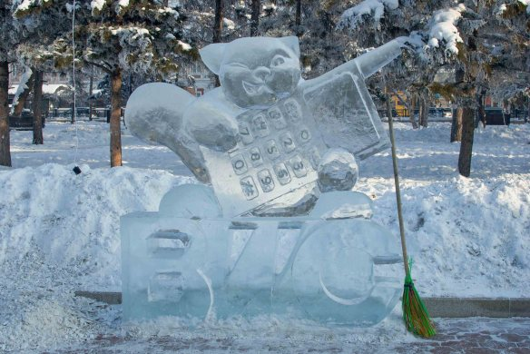 A squirrel made of ice with a cell phone, Irkutsk