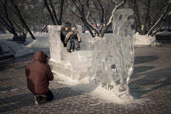 A reindeer sleigh made of ice, Irkutsk