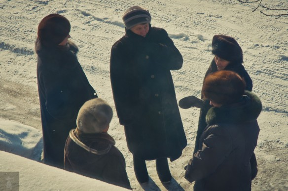 The neighborhood grandma's gather for a winter's chat.