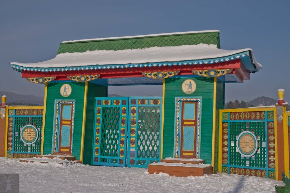 Entry gate to the Ethnographic Museum in Ulan-Ude, all done up Buryat style. Another fine example of Steppe Bling.