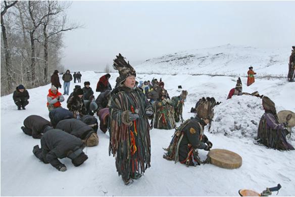 Shamans lead a ritual during Shagaa in Kyzyl, Tuva. (Alexander Kryazhev RIA Novosti)
