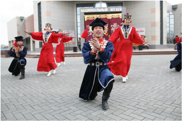 Dancers celebrate Tsagaan Sar in the capital city of Kalmykia, Elista. (Nikolai Boshev Rossiskaya Gazeta)