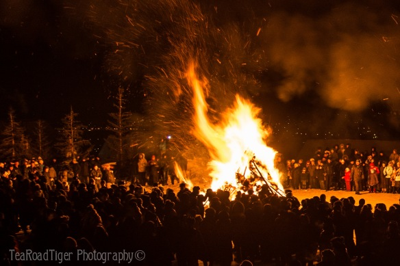 At roughly the same time at all the Buddhist temples across the city, bonfires flare up to pierce the frigid night sky.