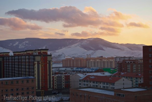 A gloaming sky over the ancient capital Urga, now Ulaanbaatar.