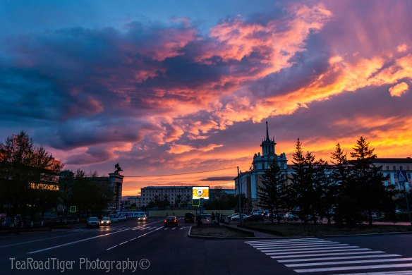 Sunset on Soviet Square, Ulan-Ude.