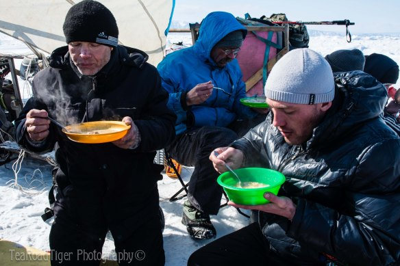 Soup on freezing lake Baikal, Siberia.
