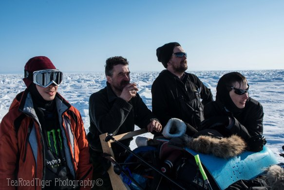 Eyes on the prize. L to R: Timur, Oleg, Sergei (Expedition Commander), and Sanya.