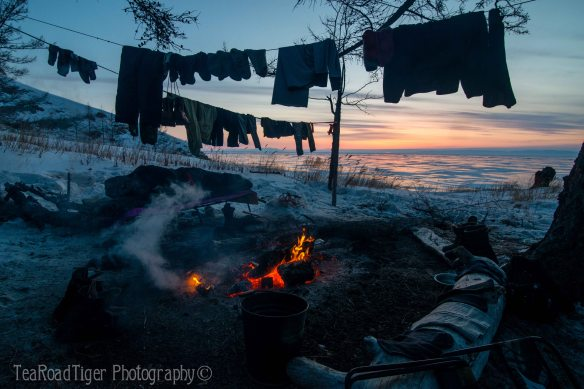 Frozen campfire at Baikal Lake.