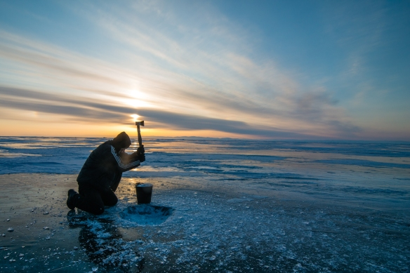 Chopping Baikal ice for camp fire tea, always and essential in wintertide and sumertime alike.