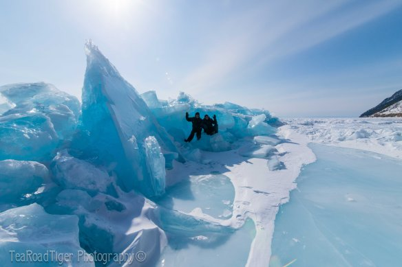 Sunlit blue ice slabs on Lake Baikal.
