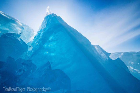 Glowing blue ice chunks on Baikal.