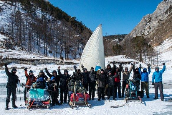Expedition team on Lake Baikal.