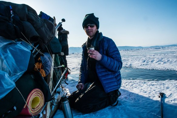 Tea on frozen Lake Baikal.