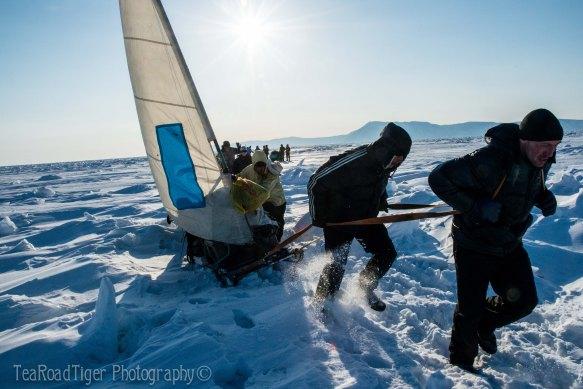 Crossing Baikals frozen ice hummocks.