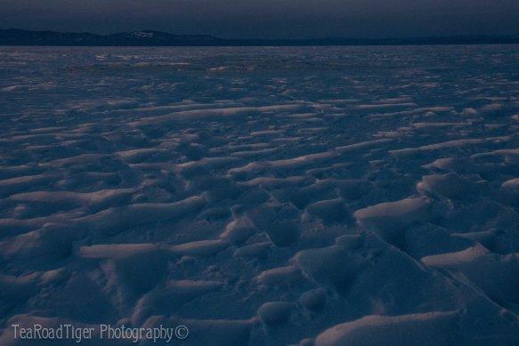 Wind carved snow on Baikal.