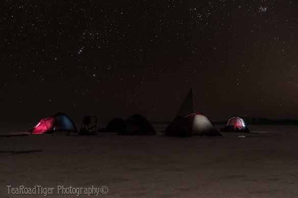 Camp under the stars on frozen Baikal.