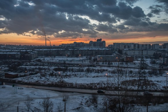 Winter sunset, Irkutsk, Siberia
