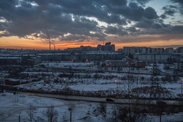 Winter sunset, Irkutsk, Siberia