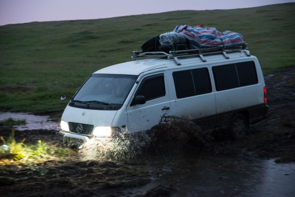 Our stalwart van takes on this interim creek.