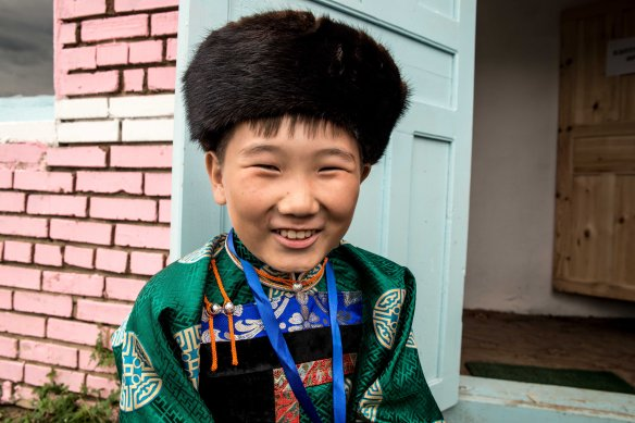 Bayasal with a relaxing grin after his performance. His family recently moved to Ulan-Ude from Hailar in China.