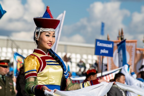 A true beauty of Buryatia in a contemporary stylized take on traditional dress.